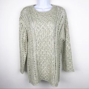 LIZ CLAIBORNE Hand Knit Chunky Cable Knit Sweater